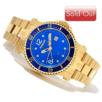 618-634 - Renato Men's T-Rex Diver Swiss Quartz GMT Gold-tone Stainless Steel Bracelet Watch