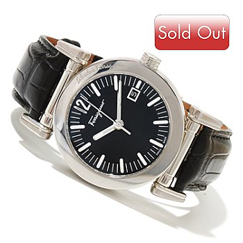 618-646 - Ferragamo Men's Salvatore Swiss Made Quartz Alligator Strap Watch