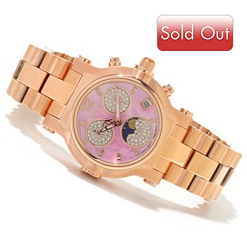 618-846 - Renato Women's Beauty Limited Edition Swiss Quartz Chronograph Moon Phase Bracelet Watch
