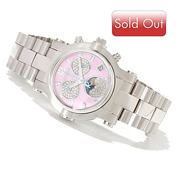 618-884 - Renato Women's Beauty Limited Edition Swiss Quartz Diamond Accented Stainless Steel Bracelet Watch