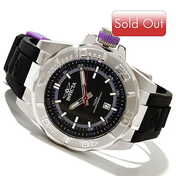 619-153 - Invicta Men's Ocean Baron Pro Diver Quartz Polyurethane Strap Watch w/ 3-Slot Dive Case