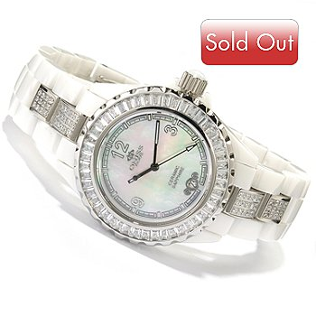 619-165 - Oniss Women's Crystal Accented Mother-of-Pearl Ceramic Bracelet Watch