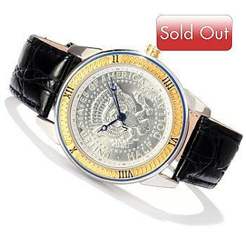 619-195 - Stauer Men's Quartz JFK Executive Half Dollar Dial Leather Strap Watch