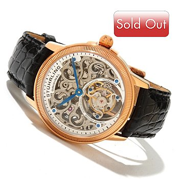 619-465 - Stührling Original Men's Mirage Limited Edition Mechanical Tourbillon Crocodile Strap Watch
