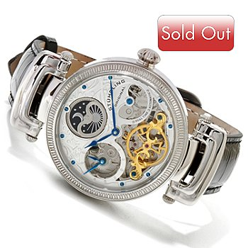 619-466 - Stührling Original Men's Magistrate Automatic Skeleton Stainless Steel Case Leather Strap Watch