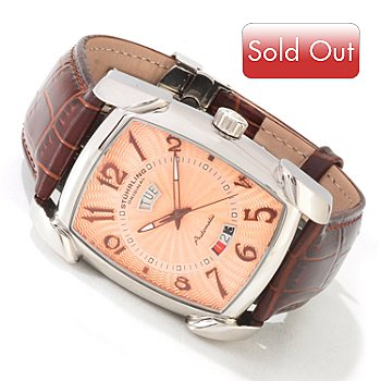 619-472 - Stührling Original Men's Madison Automatic Leather Strap Watch