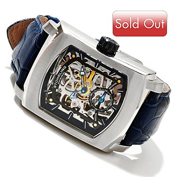 619-474 - Stührling Original Men's Midtown Banker Mechanical Skeleton Leather Strap Watch