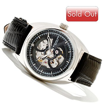 619-507 - Stührling Original Men's Tandem Automatic Stainless Steel Leather Strap Watch