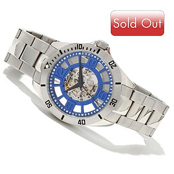 619-508 - Stührling Original Men's Winchester Elite Automatic Skeletonized Stainless Steel Bracelet Watch