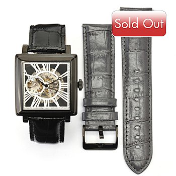 619-516 - Stührling Original Men's Automatic Skeletonized Leather Strap Watch