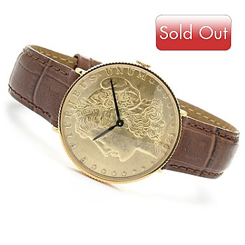 619-555 - Stauer Men's Morgan Swiss Quartz Brown Leather Strap Watch