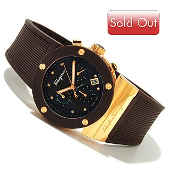 619-629 - Ferragamo Men's Gancino Sport Swiss Made Quartz Chronograph Rubber Strap Watch