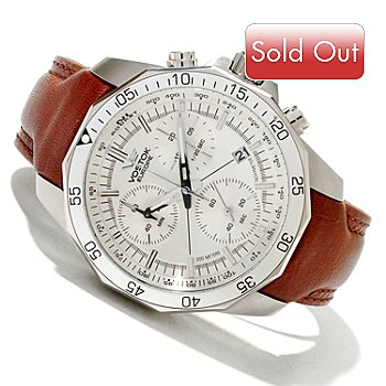 619-698 - Vostok-Europe Men's N1 Rocket Quartz Chronograph Stainless Steel Leather Strap Watch