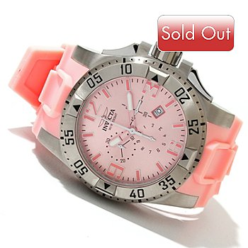 619-699 - Invicta Men's Excursion Quartz Chronograph Stainless Steel Pink Polyurethane Strap Watch