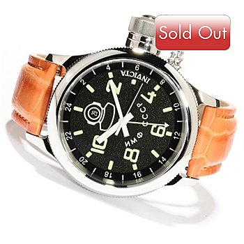 619-707 - Invicta Men's Russian Diver Quartz GMT Alligator Strap Watch