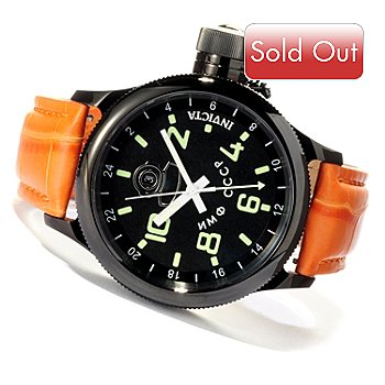 619-712 - Invicta Men's Russian Diver Quartz GMT Alligator Strap Watch