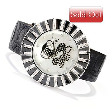 619-783 - Adee Kaye Women's Picasso MOP Cobra Dial Leather Strap Watch