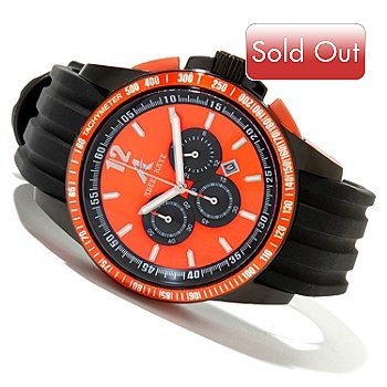 619-784 - Adee Kaye Men's Quartz Chronograph Stainless Steel Rubber Strap Watch