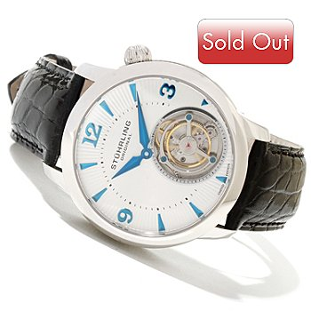 619-798 - Stührling Original Men's Eclipse Limited Edition Mechanical Tourbillon Strap Watch