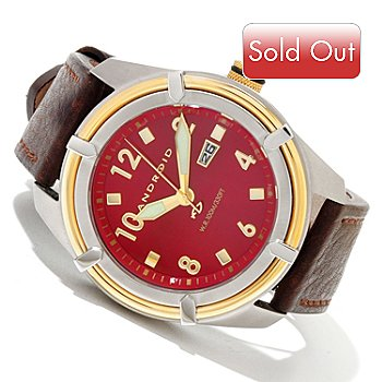619-826 - Android Men's Naval Quartz Stainless Steel Leather Strap Watch