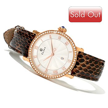 619-945 - Clara by CW Women's Quartz Strap Watch Made w/ Swarovski® Elements