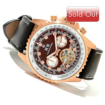 619-953 - Constantin Weisz Men's Automatic Leather Strap Watch w/ 10-Slot Watch Box