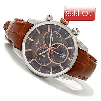 619-962 - Stauer Men's Cresta Quartz Chronograph Leather Strap Watch