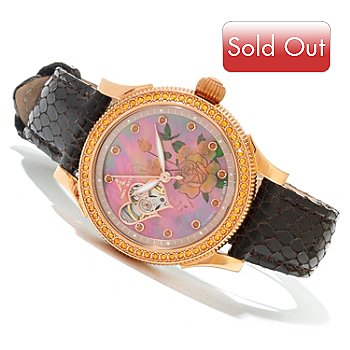 620-000 - Adee Kaye Women's Floral Automatic Leather Strap Watch