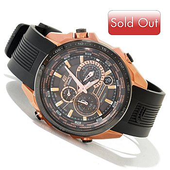 620-049 - Casio Men's Edifice Black Label Solar Power Stainless Steel Rubber Strap Watch