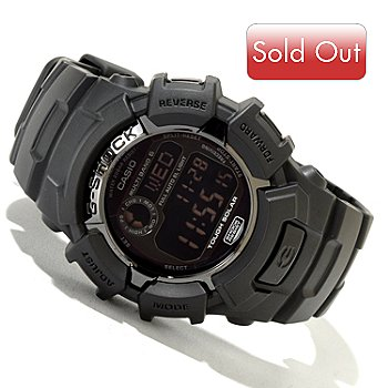 620-050 - Casio Men's G-Shock Black Out Digital Alarm Rubber Strap Watch