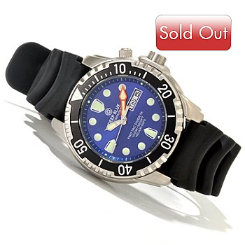 620-094 - Deep Blue Men's Pro Tac 1K Meter Quartz Stainless Steel Polyurethane Strap Watch