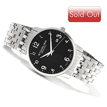 620-125 - Stührling Original Men's Churchill Quartz Stainless Steel Bracelet Watch