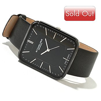620-129 - Stührling Original Men's Bovada Quartz Ceramic Leather Strap Watch