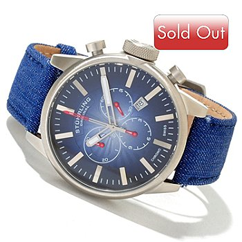 620-132 - Stührling Original Men's Concorso Quartz Chronograph Denim Leather Strap Watch