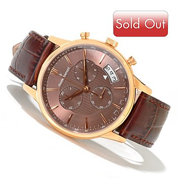 620-150 - Claude Bernard Men's Classic Swiss Made Quartz Chronograph Leather Strap Watch