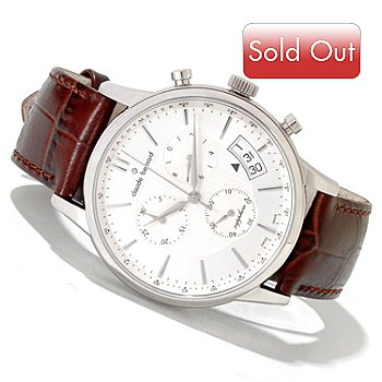 620-152 - Claude Bernard Men's Classic Swiss Made Quartz Chronograph Leather Strap Watch