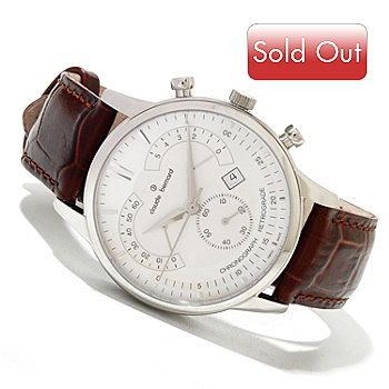 620-154 - Claude Bernard Men's Classic Swiss Made Quartz Chronograph Leather Strap Watch