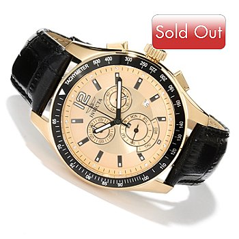 620-267 - Invicta Men's Specialty Quartz Chronograph Leather Strap Watch w/ 3-slot Collector's Box