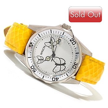 620-269 - Invicta Women's Pro Diver Butterfly Quartz Stainless Steel Leather Strap Watch w/ 3-Slot Watch Box