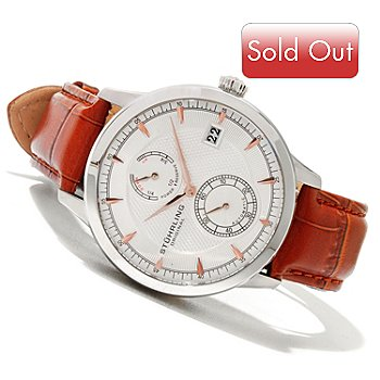620-379 - Stührling Original Men's Navigator PR Automatic Leather Strap Watch