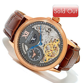 620-428 - Stührling Original Men's DT Bridge Automatic Leather Strap Watch