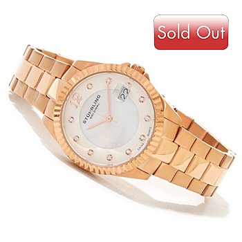 620-430 - Stührling Original Women's Lady Clipper Pearl Quartz Stainless Steel Bracelet Watch