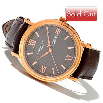 620-441 - Stührling Prestige Men's Caliph Swiss Made Quartz Leather Strap Watch