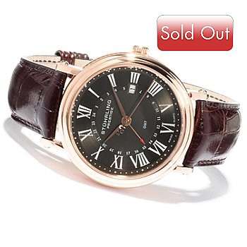 620-442 - Stührling Prestige Men's Laureate GMT Swiss Made Quartz Leather Strap Watch
