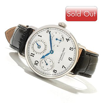 620-446 - Stührling Original Men's Coronate Mechanical Leather Strap Watch