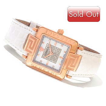 620-868 - Versace Women's Reve Carre Swiss Made Quartz Diamond Accented Alligator Strap Watch