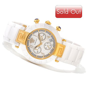 620-869 - Versace Women's Reve Swiss Made Quartz Chronograph Ceramic Bracelet Watch