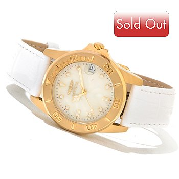 621-177 - Invicta Women's Pro Diver Quartz Pearlized Dial Stainless Steel Strap Watch