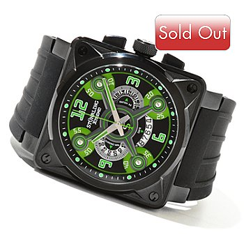 621-285 - Stührling Xtreme Men's Raven Crossfire Quartz Chronograph Rubber Strap Watch