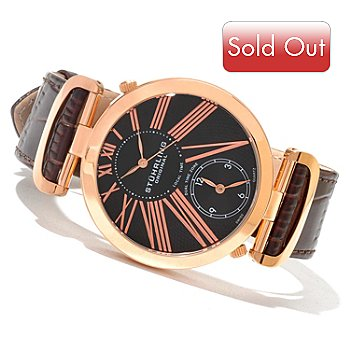 621-286 - Stührling Original Men's Eclipse Classic Quartz Dual Time Leather Strap Watch